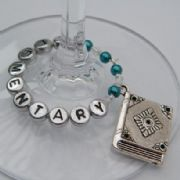 Large Book Personalised Wine Glass Charm - Full Bead Style